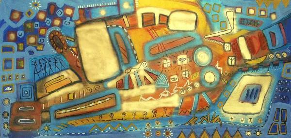 Moderne Malerei: Blaue Spuren