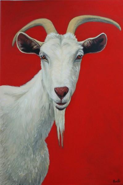 Tierportrait: Figurative Kunst: Ziege