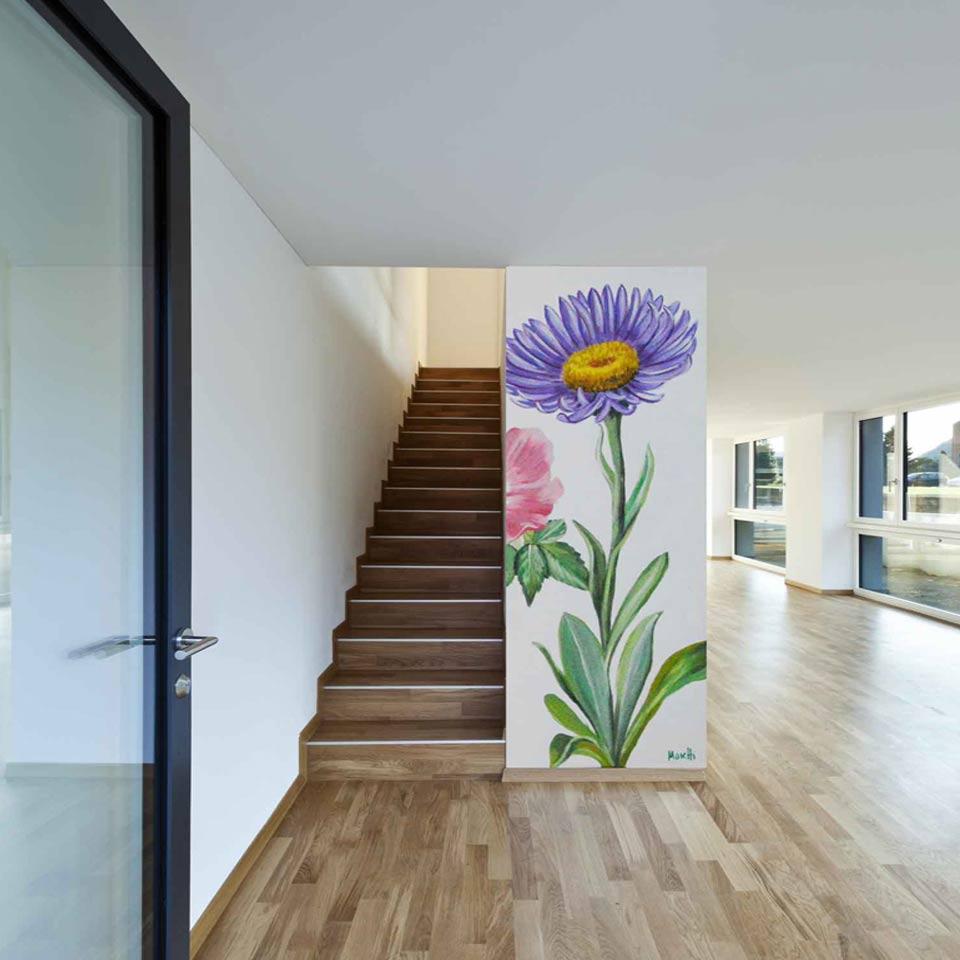 Auftragsmalerei Wandmalerei Blumen