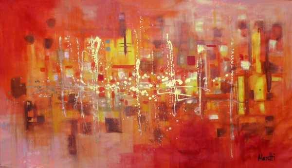 Abstract Painting Orangered 78 X 55 Inches