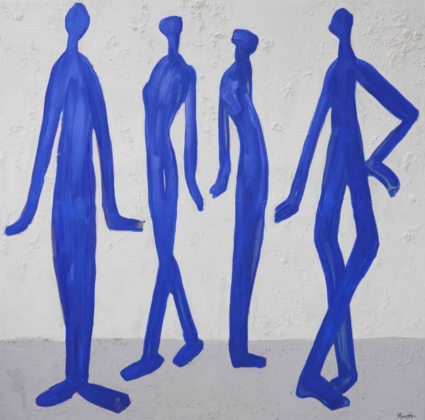 Acrylbilder: Figurative Kunst: Blaue Männer