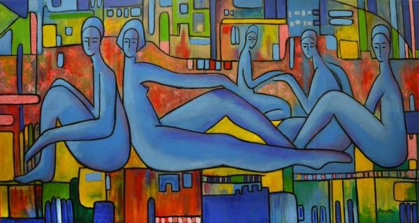Acrylbilder: Figurative Kunst: Blue siesta