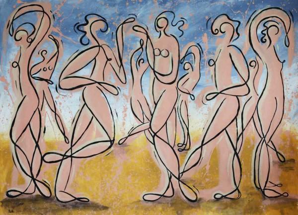 Acrylbilder XXL: Gemälde Menschen: Tänzerinnen