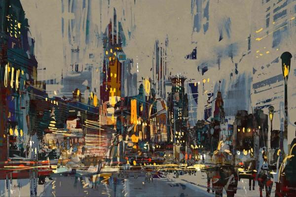 Skyline Bilder: Ölbilder: Citylights