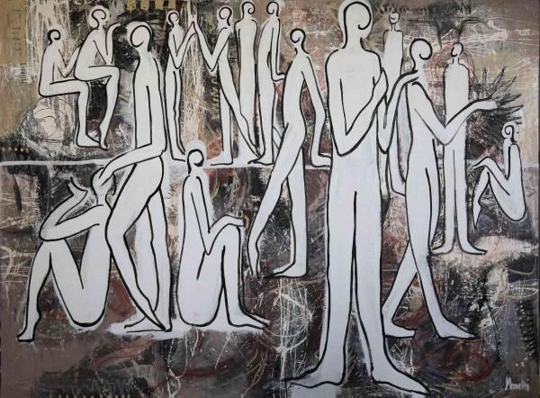 Acrylbilder: Figurative Kunst: Weiße Menschen
