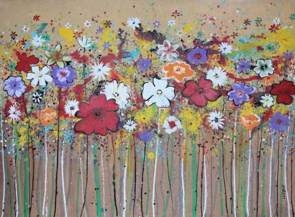 Blumen Gemälde: Ölbilder: Bunte Wiese