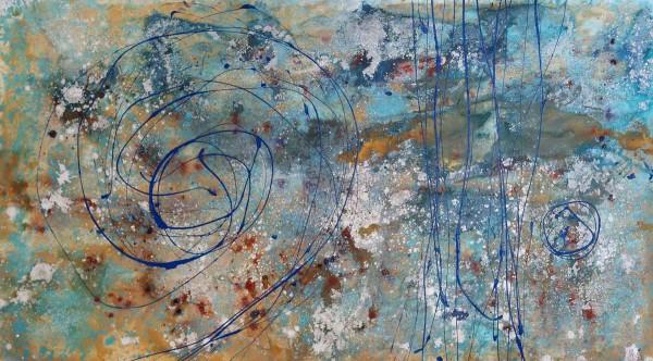 Kunst Bild in blau: Blaue Silbrigkeit: 200 x 110 cm