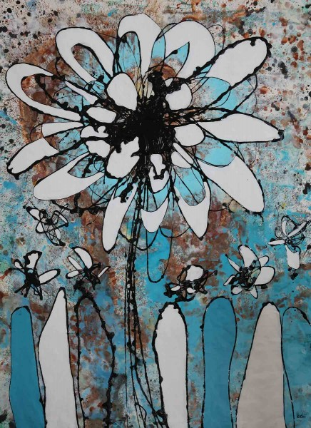 Blumen Gemälde kaufen: Fiori turchese