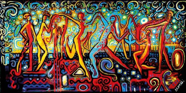 Acrylbilder: Figurative Kunst: Schillernde Tänzer