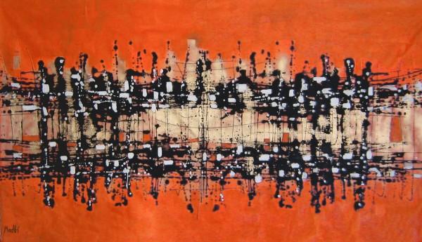 Moderne Gemälde in Öl: Malerei Orange