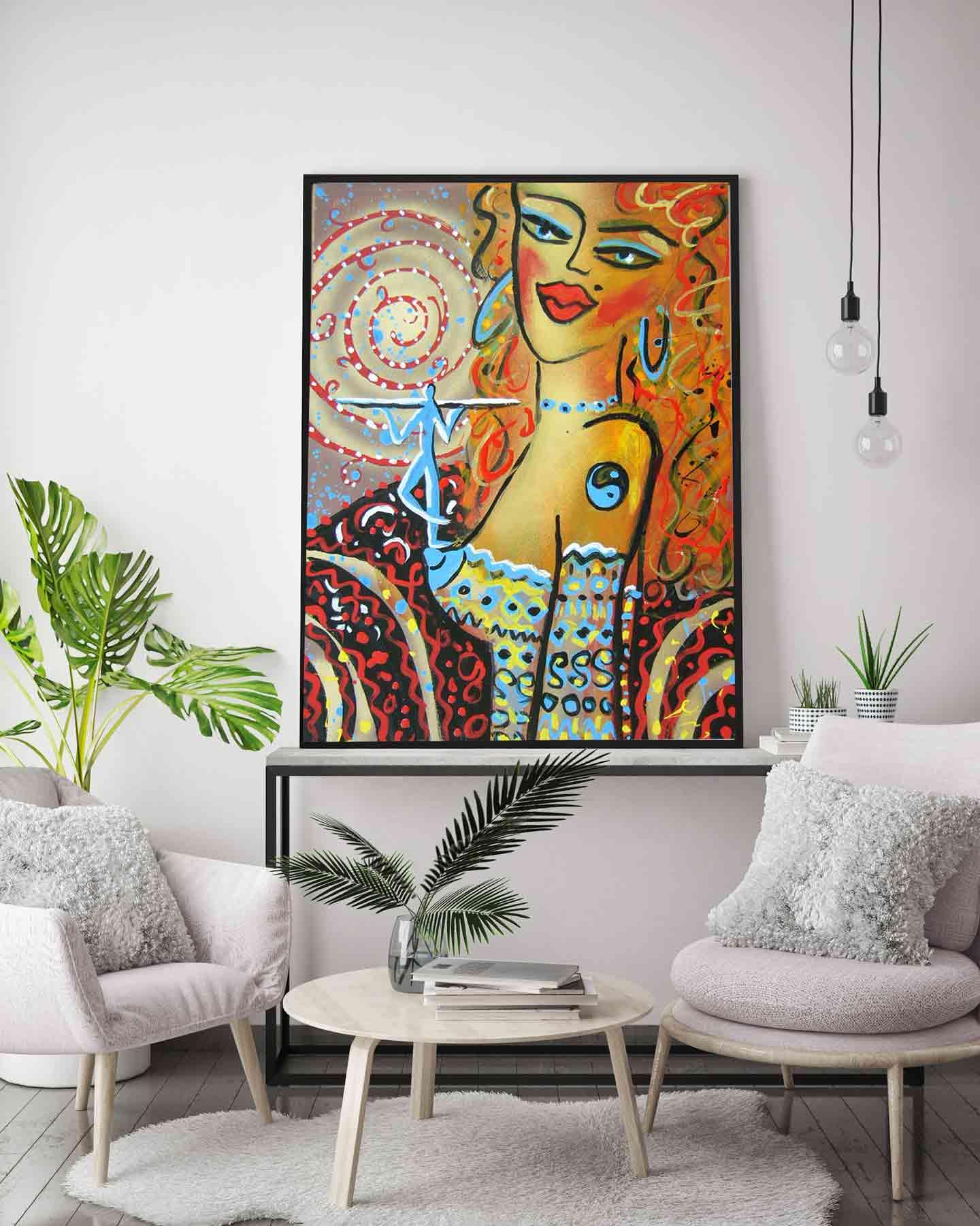 gesicht malerei der moderne i feng shui gem lde bild i frau 5. Black Bedroom Furniture Sets. Home Design Ideas