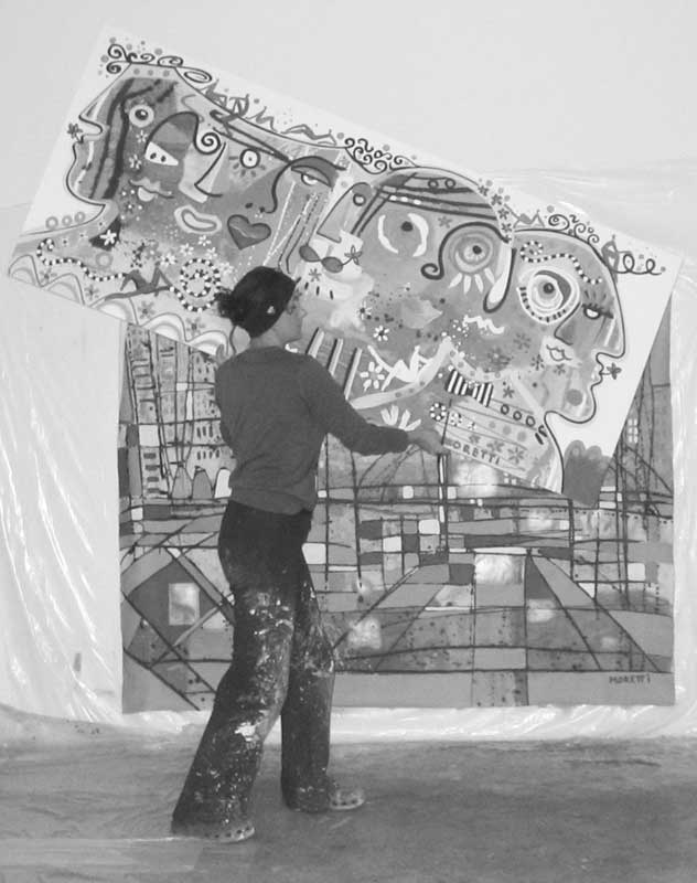 Künstler Malerei im Atelier