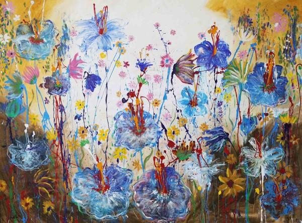 Blumen Gemälde: Fleurs bleues