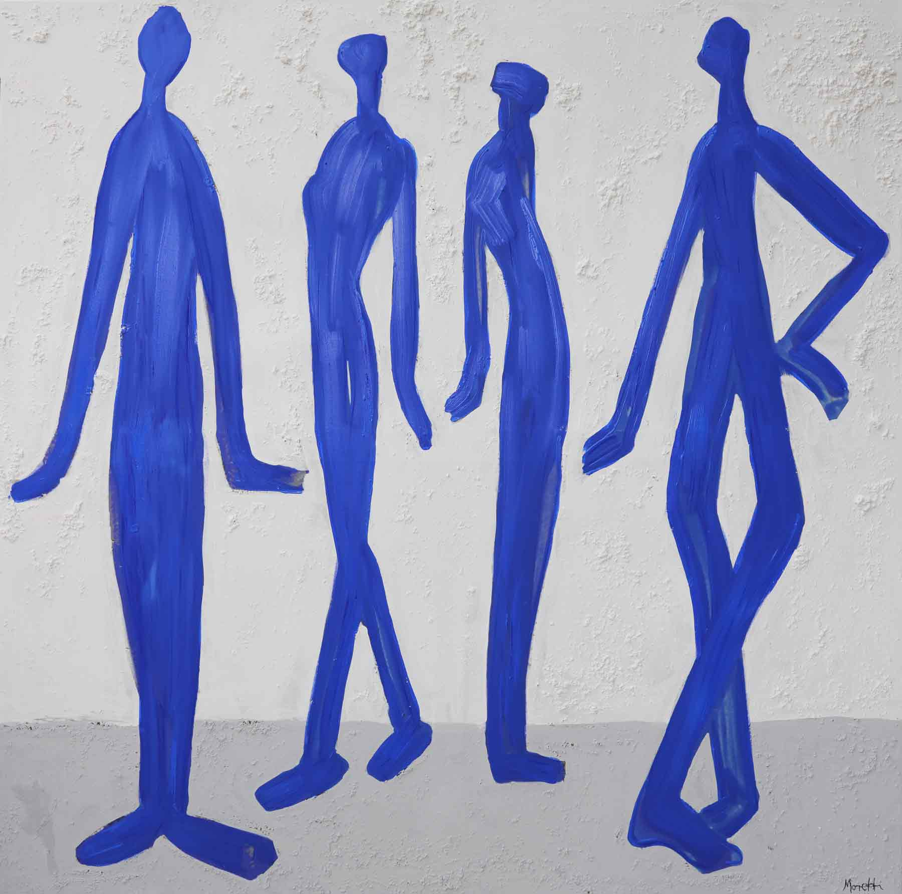Acrylbilder modern: Blaue Männer