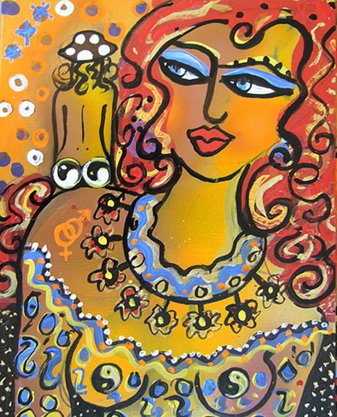 Acrylbild Portrait: Gemälde Gesicht Frau: Miss Yang 3
