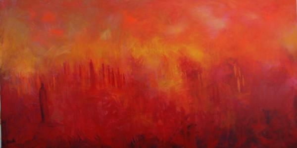 Ölgemälde Landschaft: Rotes Land