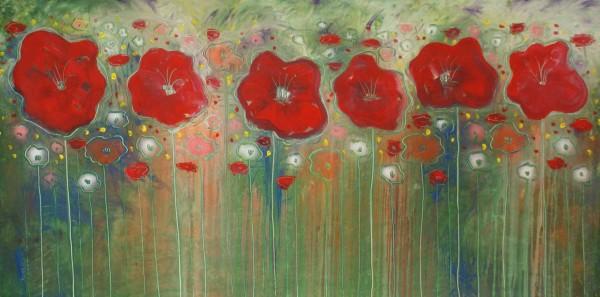 Blumen Gemälde: Ölbilder: Fiori Rossi