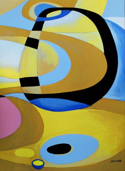 Abstrakte Gemälde Lounge: Blue retro