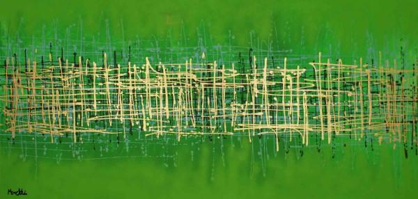 Abstrakte Gemälde: grün liebt Gold kaufen
