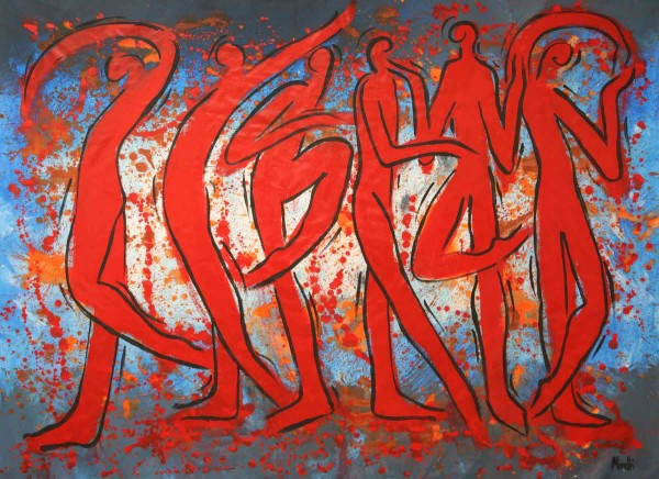 Acrylbilder: Figurative Kunst: Rote Tänzer