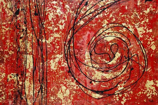 Abstrakte Gemälde: Red meets Gold