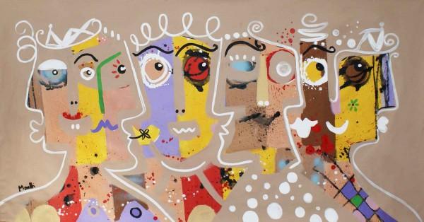 Portraitmalerei: Figurative Kunst: Beige heads