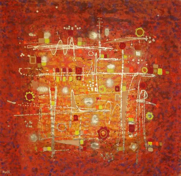 Abstrakte Gemälde orange: Goldmaschine