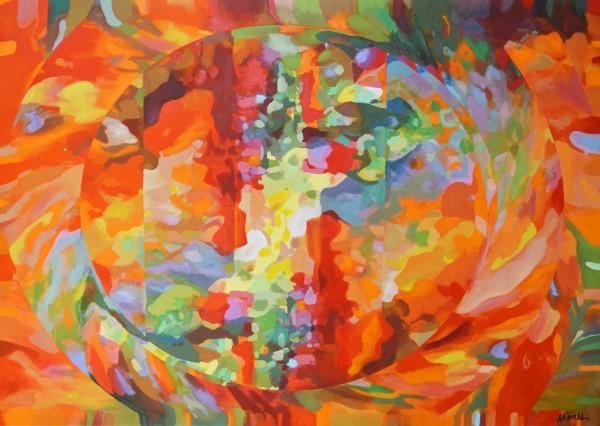Acrylbild Firefox: Gemälde abstrakt orange