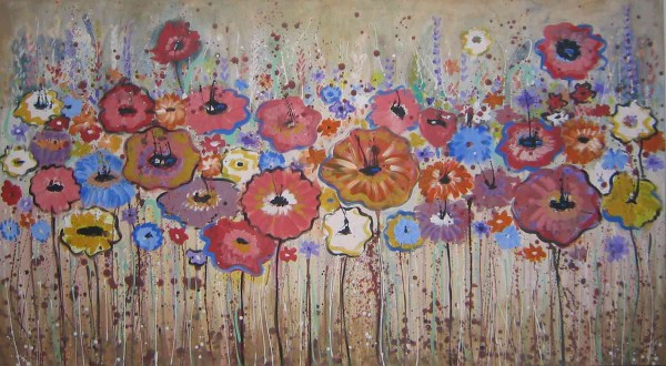 Blumen Gemälde: Ölbilder: Auf Beige