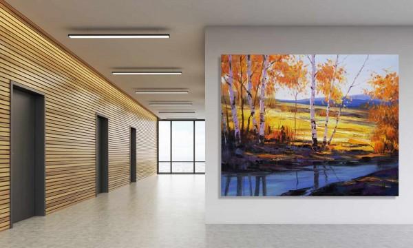Öl Gemälde - Bilder Landschaft: Schloßpark