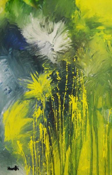 Ölbild: Greenblue: 140 x 70 cm