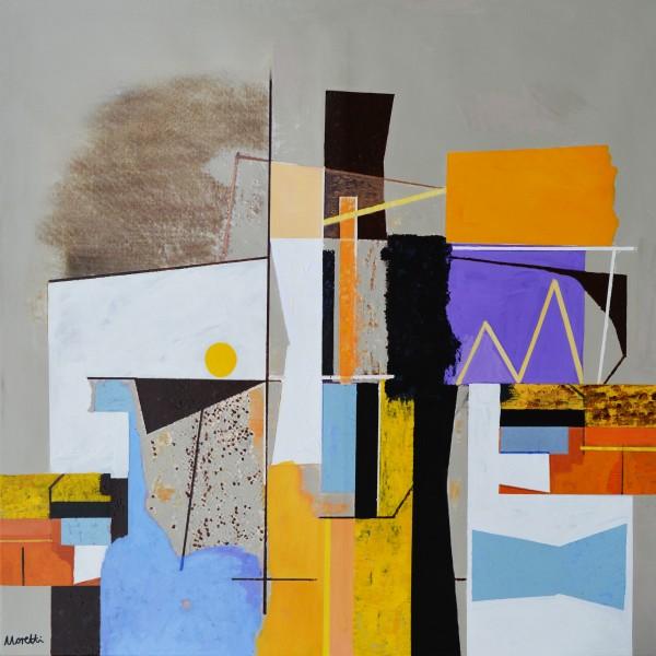 Moderne Gemälde Bauhaus: Beige Trump